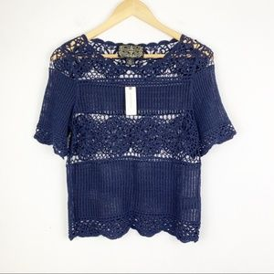 NWT James Coviello Navy Blue Crochet Top | XS